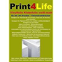 25 fogli di formato A4 pellicola adesiva autoadesiva, bianco opaco