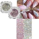 Platinum nail glitter polvere laser sparkly diamante manicure nail art decorazione nail art Chrome pigmento