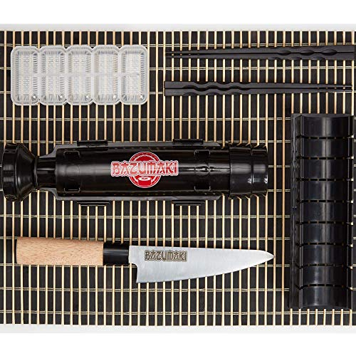 Bazumaki kit per Sushi (6 accessori) | Sushi Bazooka, Coltello per Sushi, Tagliere per maki, Stampo per nigiri, Set da tavola in bambù, 2 paia di bacchette | Semplice da preparare | Facile da ripulire