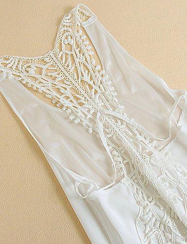 PU&PU Robe Aux femmes Mousseline de Soie Street Chic,Couleur Pleine Col en U Maxi Coton / Polyester WHITE-S