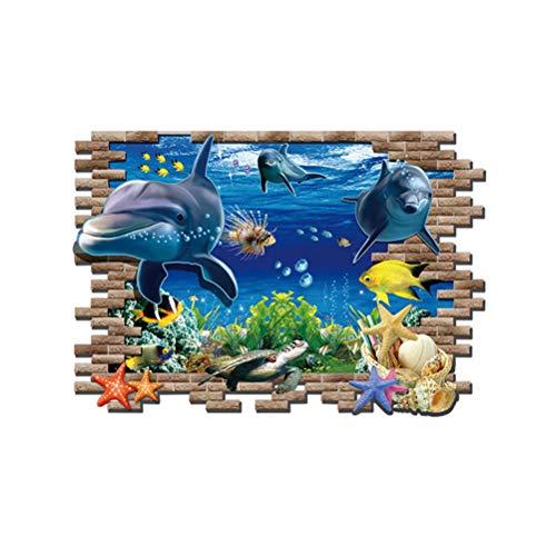 Vosarea 3D Wall Decals Sea World Boden Aufkleber Nautische Peel und Stick Wand Kunst Aufkleber Decals für Kinderzimmer Kindergarten Klassenzimmer Kinderzimmer
