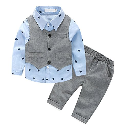 IWEMEK Baby Junge Gentleman Outfits Langarmshirt Hemd/Strampler + Hose + Weste Tuxedo Kleinkind 1. / 2. Geburtstag Smoking Hochzeit Formal Anzug Neugeborenes Taufanzug #A 12-18 Monate