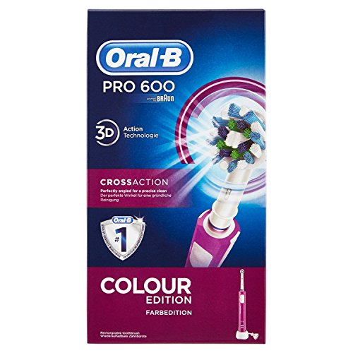 Oral-B PRO 600 CrossAction - Cepillo de dientes eléctrico recargable con tecnología Braun, edición Purple