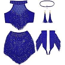 e9f246fff146 YiZYiF Vestiti da Ballo Latino Jazz delle Ragazze 7 PCS Glitter Vestito di  Danza del Ventre