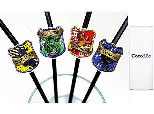10 x coco y Bo - pajitas Magos mágico Hogwarts casas - Harry Potter diseño de decorativos para fiestas infantiles/accesorios