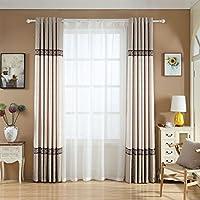 HZH-HZH-Simple y moderno Salón Dormitorio Terraza semi-sombra Cortina Espesamiento (2pcs),C,amplia 2.5X 2.7 m de altura