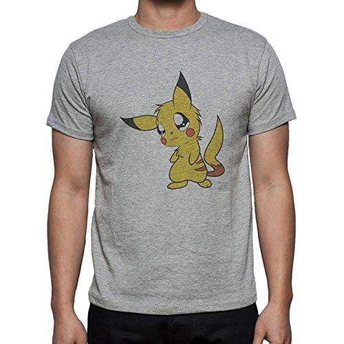 Pokemon Pikachu Electric Rat Yellow Real Cute Herren T-Shirt Grau
