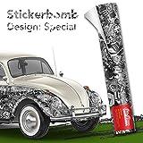 30x150cm Stickerbomb Auto Folie in schwarz / weiß matt - Sticker Logo Bomb - JDM Aufkleber - Design: SD BW M