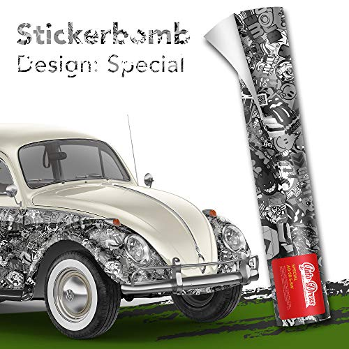 Stickerbomb Folie - Alle Designs - alle Größen! Ob Glänzend oder matt, bunt oder schwarz/weiß! Für blasenfreies 3D Car Wrapping mit echten Marken Sticker Bomb Logo Aufklebern- JDM (200x150cm, SD schwarz weiß matt)