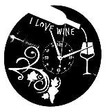 Instant Karma Clocks Orologio da Parete Disco in Vinile ENOTECA BIRRERIA Ristorante Pizzeria I Love Wine Vino UVA, Vintage, Silenzioso