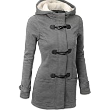 Mujeres Invierno casual con capucha Windbreaker Horn Button Zip lana Blend Long Coat Outwear