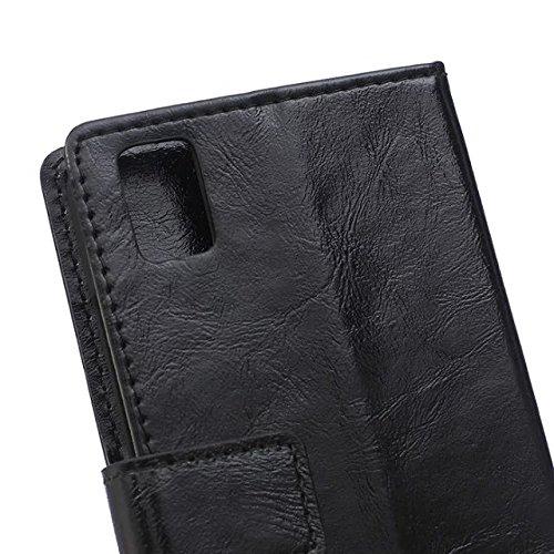 Verrückte Pferd Texture Pattern synthetischen PU-ledernen Fall horizontalen Flip-Ständer Case Wallet Fall Deckung Solid Color Case für Huawei Honor 7I ( Color : Red , Size : Huawei Honor 7I ) Black