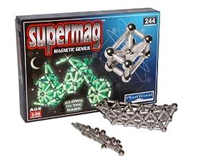 Desconocido Supermag  - Glow, Paquete básico con 244 Piezas: 170 Varillas Que Brillan en la Oscuridad y 64 Bolas