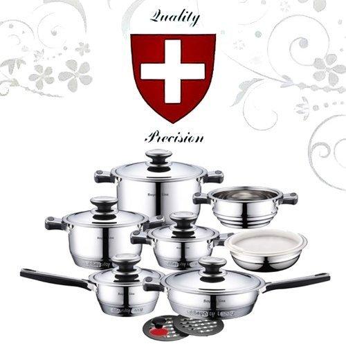 Set da cucina batteria pentole 16 pezzi professionale royalty line switzerland, acciaio inox 18/10