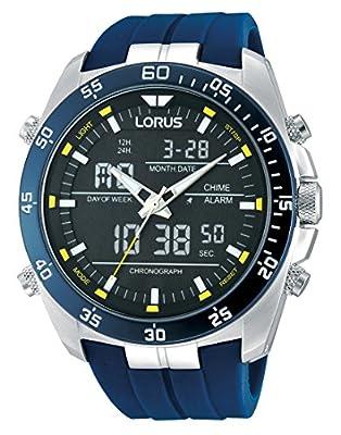 Lorus Sport - Reloj Analógico-Digital de Cuarzo para Hombre, correa de Goma color Azul de Lorus