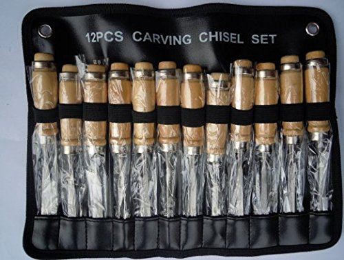 Preisvergleich Produktbild Dewel 12er Holz Metall Holzschnitzerei Meißel Set Holz Schnitzmesser-Set für Anfänger Professional Schnitzwerkzeuge