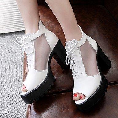 LvYuan Da donna-Sandali-Ufficio e lavoro Formale Serata e festa-Club Shoes-A stiletto-PU (Poliuretano)-Nero Bianco White