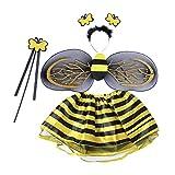 LUOEM Biene kostümiert Fee Kostüm Stirnband Wand Tutu Rock Set Winkel Mädchen Fairy Kleid Outfit für Halloween Kostüm Cosplay Party Performance 4pcs