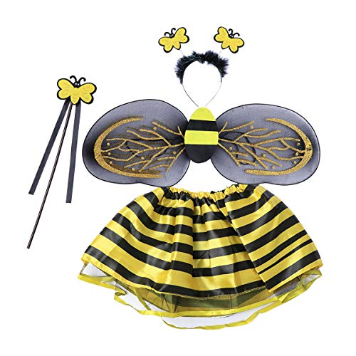 LUOEM Biene kostümiert Fee Kostüm Stirnband Wand Tutu Rock Set Winkel Mädchen Fairy Kleid Outfit für Halloween Kostüm Cosplay Party Performance 4pcs