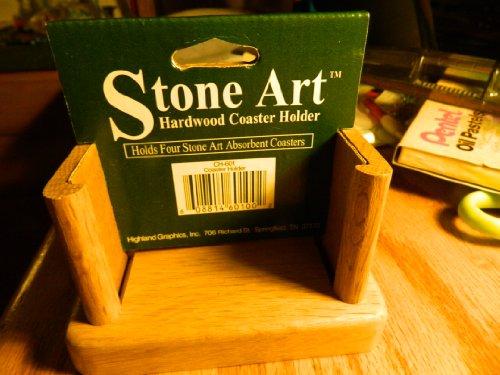 Stone Art Untersetzer aus Hartholz - für 4 absorbierende Untersetzer - Eiche -