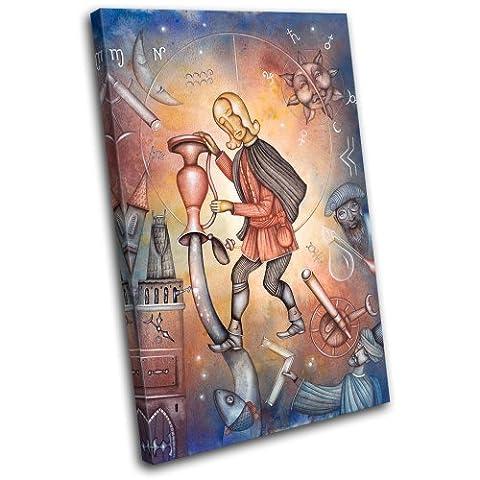 Bold Bloc Design - Zodiac Aquarius Starsign - 135x90cm Boîte de tirage d'Art toile encadrée photo Wall Hanging - à la main dans le UK - encadré et prêt à accrocher - Canvas Art Print