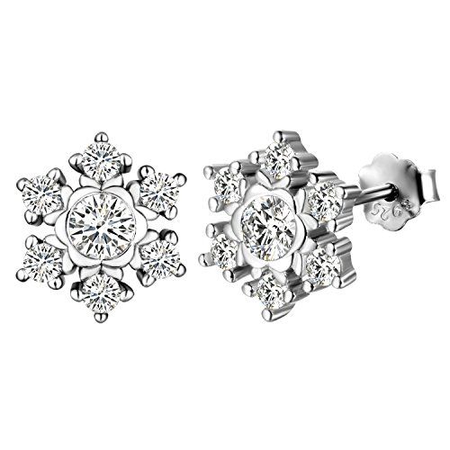 aroncent Women 925 Silver Snowflake Earrings Mosaic Zirconia Gift For Valentine's Day/Christmas/Birthday