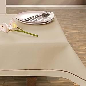 160x160 hellcappucino cappucino hellbeige beige Tischdecke Tischtuch elegant praktisch pflegeleicht Leinoptik Lein Optik mit Borte Modern Lein