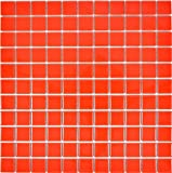 Mosaik Fliese Keramik rot glänzend für WAND BAD WC DUSCHE KÜCHE FLIESENSPIEGEL THEKENVERKLEIDUNG BADEWANNENVERKLEIDUNG Mosaikmatte Mosaikplatte 1 Matte