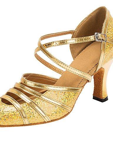 La mode moderne Sandales femmes personnalisables Chaussures de danse latine Paillette/sandales talon moderne personnalisé professionnel/or intérieur US7.5/EU38/UK5.5/CN38