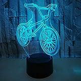 Ambiguity Nachtlicht 3D, 3D LED bunten Berg Fahrrad Lampe Hauptdekoration Ornamente Nachtlampe Weihnachten Geschenk Illusion Licht