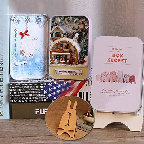 DIY Holz Miniatur Puppenhaus montiert Box Haus Box Geheimnisse Zwei Arten Eichhörnchen Paradies verschneiten Tag Modell Kit Geburtstagsgeschenk(Rosa) (Eichhörnchen-montage-kit)