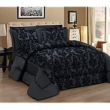 Antonio Saviero - Juego de ropa de cama de 3piezas, lino de calidad, diseño moderno de damasco, incluye 1 colcha/edredón y2 fundas de almohada, Lino, negro, Double 220 x 240