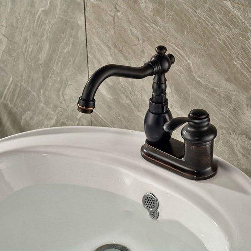 Diongrdk Euro Style Waschtisch Armatur Waschbecken Mischbatterie Öl Eingerieben Bronze Kaltes Und Heißes Wasser Mit Zwei Bohrungen Ein Griff Tippen Euro Design-waschtisch
