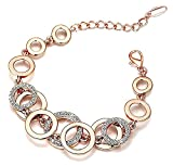 Valentine Gift By Shining Diva Rose Gold Crystal Charm Stylish Bracelet For Women & Girls