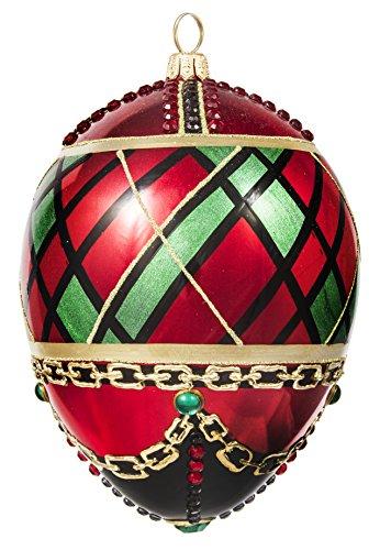 Joy to the World Glitterazzi Tartan Plaid Jeweled Egg Polish Glass Christmas Ornament Poland New -