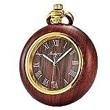 TREEWETO Orologio da taschino al Quarzo scheletro Steampunk Quadrante a forma di rame rosso in legno con scatola regalo a catena