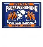 Nahual Hochwertige Türmatte - Hier wohnt ein Feuerwehrmann mit der Flamme seines Lebens - Feuerwehr Fußmatte