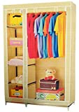 YOGERS 3.5 Feet Creative Cream Cabinet, Easy Installation Folding Wardrobe Cupboard Almirah Foldable Storage Rack Collapsible Cloths Organizer
