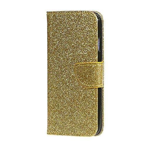 Leder Hülle für das iPhone 6/6S Plus, Forepin® Bling Brieftaschenhülle (Bargeld & Kartenschlitz) Ultra-slim iPhone Handyhülle PU Leder Case Weiß mit Sternen Gold