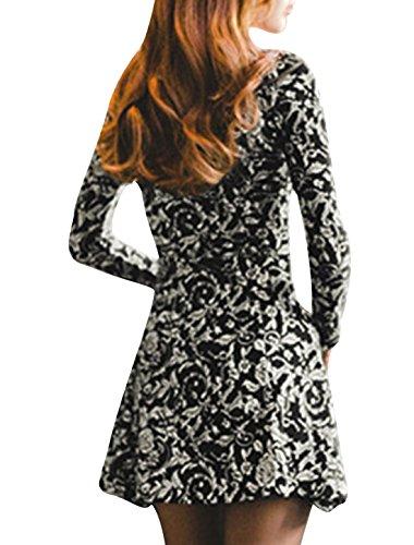 Femmes Trendy Decolleté Floral Impressions Robe Patineuse Noir