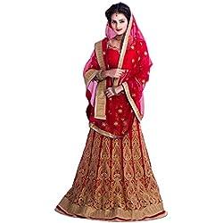 Siddeshwary Fab Red Net Heavy Embroidered Lehanga Choli