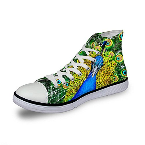 NSX Punta rotonda delle donne High Top Lace-Up 3D Printing Canvas Casual Athletic Skate Scarpe Flats , 38 , 008 002-38