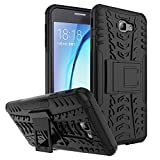 #7: Kaira Hard Armor Hybrid Rubber Bumper Flip Stand Rugged Back Case Cover for Samsung Galaxy J7 Prime (Black)