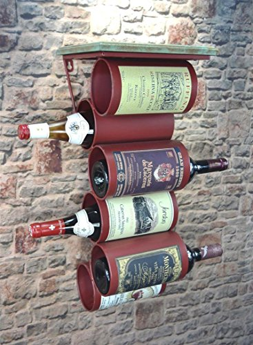 Livitat® Wandregal Wein Weinregal Flaschenregal Metall Used Look Vintage Retro LV5011