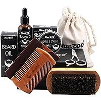 Kit Cuidado de Barba, Leegoal barba aseo y recorte kit-cepillo de cerdas de barba y peine, aceite de barba dejar-en el acondicionador, bálsamo no perfumado, bigote tijeras para hombres barba de estilo, la formación y el crecimiento conjunto de regalo (color de madera)