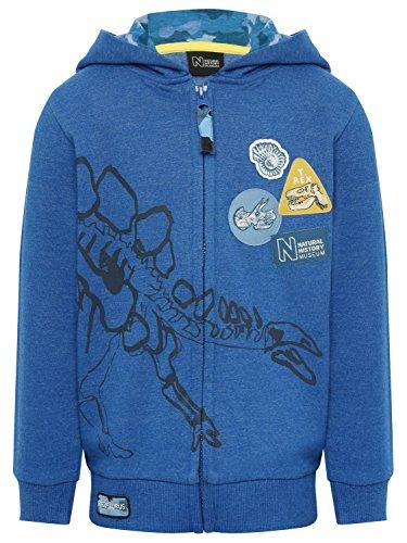 M&Co Natural History Museum Kids Blue Long Sleeve Dinosaur Badge Print Zip up Hoody