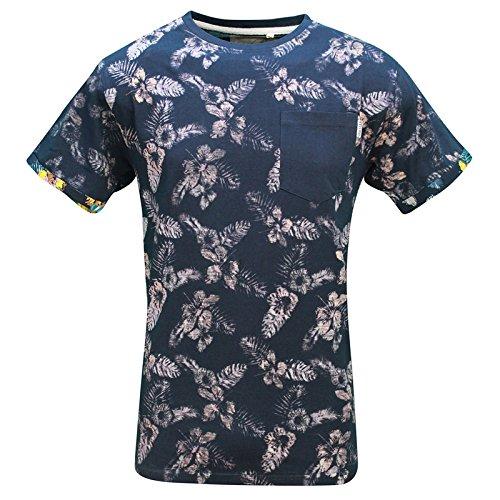 Soulstar Uomo Floreane T-shirt Reverse rovesciando il capo Manica Corta Con Disegno T-shirt Top Navy