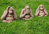 Garden Mile® 3Pc Wise Monkeys Stone Effect Garden Ornaments, Large Hear No Evil, Speak No Evil, See No Evil Vintage Garden Statues.