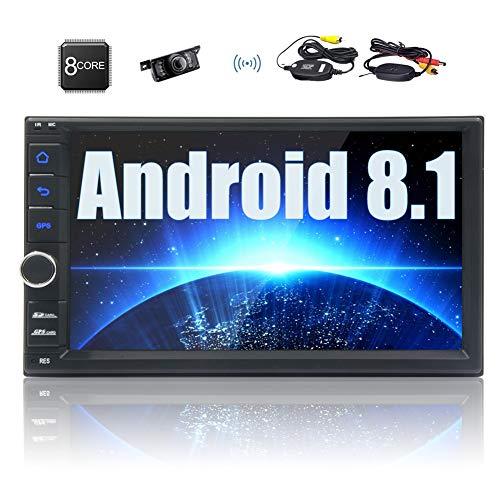 Doble DIN Android 8.1 Oreo Auto Radio 7 Pulgadas de Pantalla táctil de navegación GPS con 2 GB de RAM 32 GB ROM Soporte Am/FM RDS Bluetooth USB WiFi SD Espejo Enlace de Control Remoto y la cámara