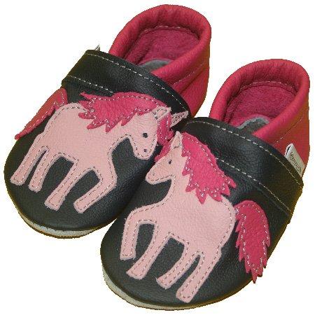 Motif licorne blaue chaussures souples pour bébé (bleu marine/rose - Marine-Pink